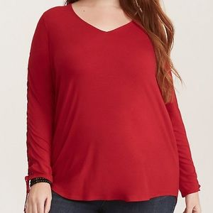 Torrid Red Super Soft Lace-up Long Sleeve Tee, 00X